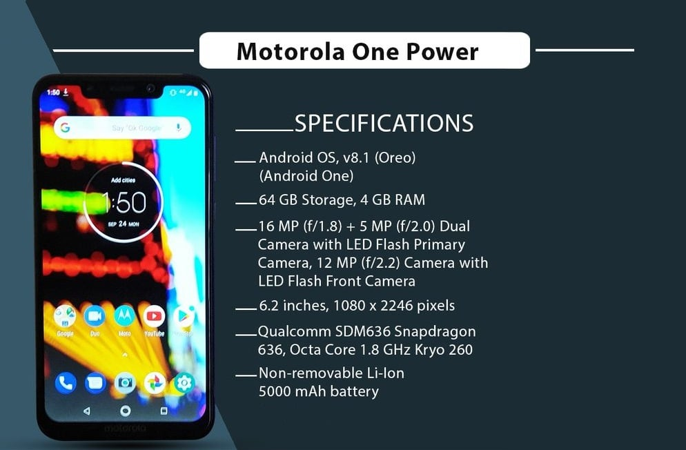 Процессор и дисплей Motorola One Power